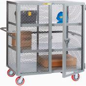 "Little Giant® HD Job Site Security Box Truck w/Handle, 2 Center Shelves, 36x60, 6"" Poly Wheels"