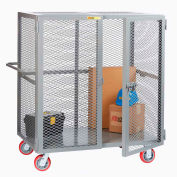 "Little Giant® HD Job Site Security Box Truck w/Handle, No Center Shelf, 24x48, 6"" Poly Wheels"