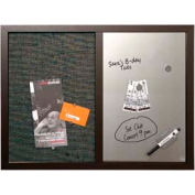 "MasterVision™ Combo Silver Dry Erase & Black Fabric Bulletin Board 24"" x 18"", Black Frame"