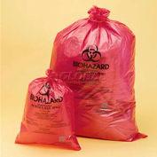"""Bel-Art rouge Biohazard disposition sacs 131643138, 25-35 Gallon, 1,5 mil d'épaisseur, 31"""" W x 38"""" H, 200/PK"""
