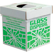 "Bel-Art F24653-0002 Broken Glass Disposal Box, Benchtop Model, 8""W x 8""D x 10""H, Green, 6/PK"