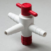 "Bel-Art F30895-0000 Three-Way PTFE Stopcock, 1/4"" to 3/8"" Tubing, 4mm Bore"