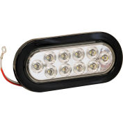 "6-1/2"" Oval 10 LED Clear Backup Light w/ Grommet & Plug - 5626310"
