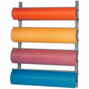 """Horizontal Wall-Mount Paper Dispenser With Cutter for 36""""W x 9"""" Diameter Rolls, 4 Roll Capacity"""