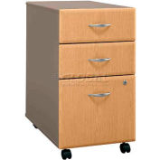 Bush Furniture Three Drawer File (Unassembled) - Light Oak - Series A