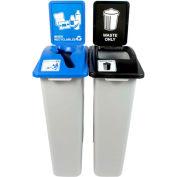 Busch Systems Waste Watcher double-déchets et matières recyclables mixtes, 46 gallons, gris-100964