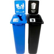 Busch Systems Waste Watcher double-déchets et matières recyclables mixtes, 46 gallons, bleu/noir-101050