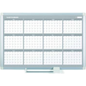 "MasterVision Magnetic 12 Month Planner Traditional Format, Steel Surface, 36""W x 24""H"