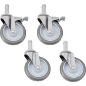 """Nexel® Stainless Steel Stem Casters - Set of (4) 5"""" Polyurethane, (2) with Brakes 1200 Lb. Cap."""