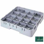 "Cambro 16S1058119 - Camrack  Glass Rack 16 Compartments 11"" Max. Height Sherwood Green NSF - Pkg Qty 2"