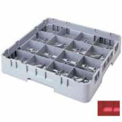 "Cambro 16S958163 - Camrack  Glass Rack 16 Compartments 10-1/8"" Max. Height Red - Pkg Qty 2"