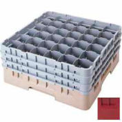 """Cambro 36S1114416 - Camrack  Glass Rack 36 Compartments 11-3/4"""" Max. Height Cranberry NSF - Pkg Qty 2"""