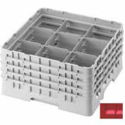 "Cambro 9S1114163 - Camrack  Glass Rack 9 Compartments 11-3/4"" Max. Height Red NSF - Pkg Qty 2"