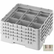 "Cambro 9S318184 - Camrack  Glass Rack 9 Compartments 5-7/8"" Max. Height Beige NSF - Pkg Qty 5"