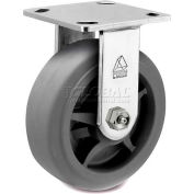 """Bassick® Prism Stainless Steel Rigid Caster - Thermal Plastic Rubber - Flat Tread - 5"""" Dia."""