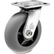 """Bassick® Prism Stainless Steel Swivel Caster - Thermal Plastic Rubber - Round Tread - 4"""" Dia."""