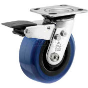 "Bassick® Prism Stainless Steel Total Lock Swivel Caster - Eagle Urethane - 5"" Dia."
