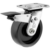 "Bassick® Prism Stainless Steel Total Lock Swivel Caster - Polyolefin - 5"" Dia."