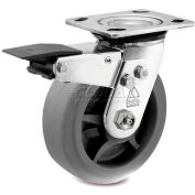 Bassick Prism Stainless Steel Total Lock Swivel Caster - Thermal Plastic Rubber - Flat Tread - 8""