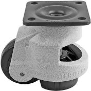 Foot Master® Swivel Plate Manual Leveling Caster GD-120F - 2200 Lb. - 42mm Dia. Nylon Wheel