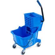 Carlisle Commercial Mop Bucket with Side-Press Wringer 26 Quart, Blue - 3690814