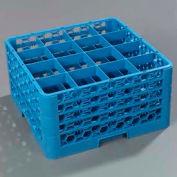 Carlisle RG16-414 - Opticlean™ 16 Compartment Glass Rack W/ 4 Extenders, Blue - Pkg Qty 2