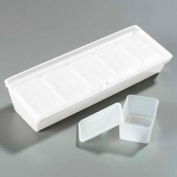 """Carlisle SS10502 - Caddy W/5 Ea 1-1/4 Pint Containers/Lids 19-3/4"""", 7-1/4"""", 4-1/4"""", White"""