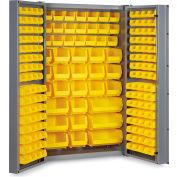 """Bin Cabinet Deep Door with 176 Yellow Bins, 16 Ga. All-Welded Cabinet 48""""W x 24""""D x 72""""H, Gray"""