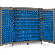 "Bin Cabinet Flush Door with 264 Blue Bins, 16 Ga. All-Welded Cabinet 72""W x 24""D x 84""H, Gray"