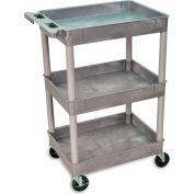 "Luxor | H. Wilson Tray-Shelf Carts - 32""Wx24""D Shelf - 37-1/4""H - Gray"