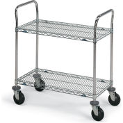 """Metro® SUPER ERECTA® Stainless Steel Wire Utility Carts - 72"""" Wx24"""" D Shelf"""