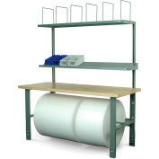 """Stackbin Adjustable Height Packing Workbench, Laminate Square Edge, 72""""W x 30""""D"""