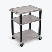 "Luxor™ Tuffy Garage & Shop Plastic Utility Cart, 3 Shelf, 24""Lx18""Wx34""H, Gray"