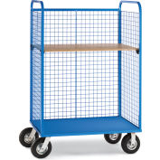 "Relius Elite Wire Cage Trucks - Wood Shelf - 8"" Pneumatic Casters - 45"" Wx24"" D Shelf - Blue"