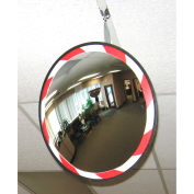 "Round Acrylic Convex Mirror W/Red & White Border, Outdoor, 26"" Dia., 160° Viewing Angle"