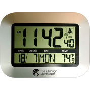 "Chicago Lighthouse 9.75"" Digital Atomic Clock with Calendar and Indoor Temperature Display - Silver"