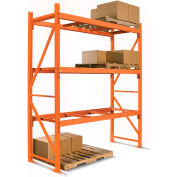 "Cresswell 2 Shelf Add-On Pallet Rack Unit - 96x42x144"" Orange Frame with Orange Beams with Decking"