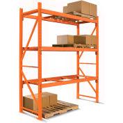 Unité de rayonnage à palettes supplémentaire à2 étages Cresswell, 96 x 42 x 144 po, structure orange avec poutres orange avec plateau