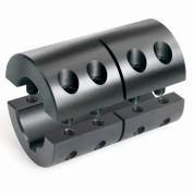 """2-Piece Clamping Couplings Recessed Screw w/Keyway, 1-1/4"""", Black Oxide Steel"""