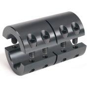 """2-Piece Industry Standard Clamping Couplings w/Keyway, 1-1/8"""", Black Oxide Steel"""