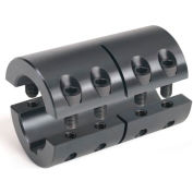 "2-Piece Industry Standard Clamping Couplings w/Keyway, 1-1/2"", Black Oxide Steel"