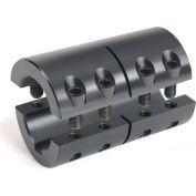 Metric Two-Piece Standard Clamping Couplings w/Keyway, 15mm, Black Oxide Steel
