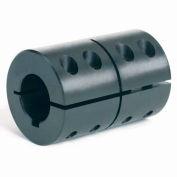 """One-Piece Clamping Couplings Recessed Screw w/Keyway, 1-1/2"""", Black Oxide Steel"""