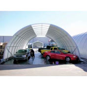"""Freestanding Poly Building 42'W x 17'3""""H x 60'L Gray 4'Rafter"""