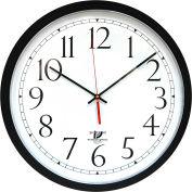 Horloge murale à réglage automatique Chicago Lighthouse, 16,5 po, ronde, boîter en plastique, noire
