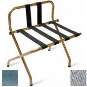 Luxury High Back Chrome Luggage Rack w/ Back Strap, Silver Straps, 6 Pack - Pkg Qty 6