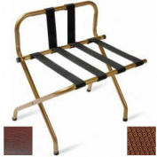 Luxury High Back Walnut Luggage Rack w/ Back Strap, Brown Straps, 6 Pack - Pkg Qty 6
