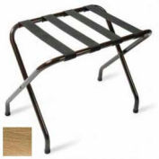 Flat Top Antique Inca Gold Luggage Rack with Black Straps, 1 Pack