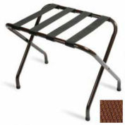 Flat Top Walnut Luggage Rack with Brown Straps, 1 Pack