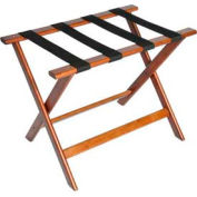 Deluxe Flat Top Wood Luggage Rack, Cherry Mahogany, Black Straps 5 Pack - Pkg Qty 5